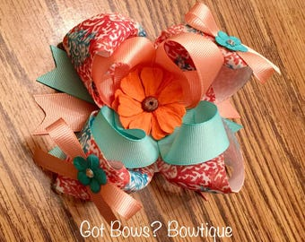 Coral & Teal Stacked Boutique Bow