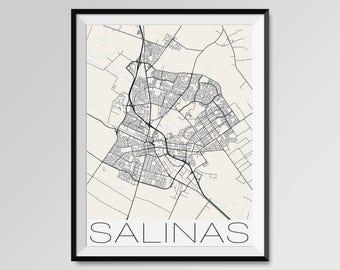 SALINAS California Map, Salinas City Map Print, Salinas Map Poster, Salinas Wall Map Art, Salinas gift, Custom city maps, Personalized maps