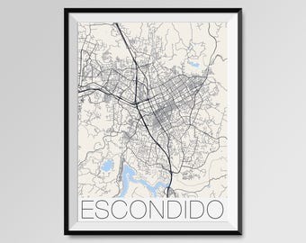 Escondido California Map, Escondido City Map Print, Escondido Map Poster, Escondido Wall Map Art, Escondido gift, Custom city maps
