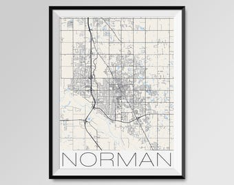 NORMAN Oklahoma Map, Norman City Map Print, Norman Map Poster, Norman Map Art, Norman gift, Custom maps, Personalized maps, Oklahoma map