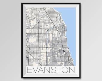 EVANSTON Illinois Map, Evanston City Map Print, Evanston Map Poster, Evanston Wall Art, Evanston gift, Custom city, Northwestern University
