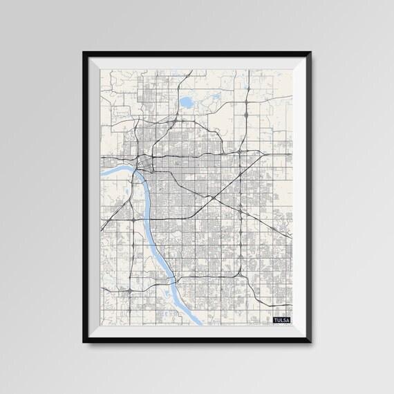 Home Decor Tulsa: Tulsa Map Print Minimal Wall Art Office Home Decor COLORS