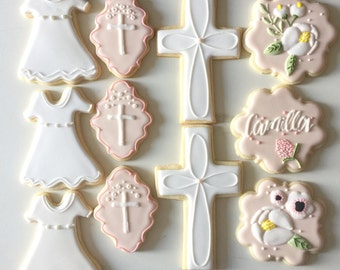 Baptism Cookies, Christening Cookies, Religious Cookies, Crosss Cookies, Flower Cookies, Baby Cookies, Dessert Table, Treat Bags