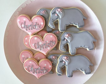 Baby Shower, Elephant Cookies, Heart Cookies, Shower Cookies, Birthday Cookies, Party Favors, Baby Cookies