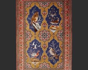 QUM Persian silk rug  5.0 x 3.4 ft / 150 x 100 cm vintage carpet Boho Style birds