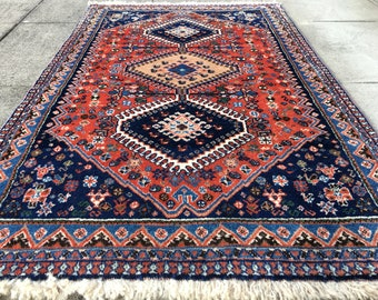 Persian rug vintage 4.3 x 2.8 ft / 130 x 82 cm style carpet Yalameh Free shipping to US - CA - EU