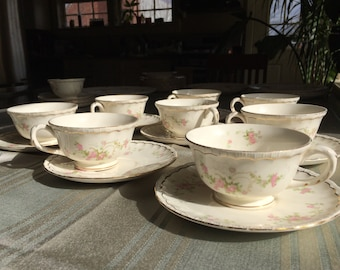 Pope-Gosser Vintage China Sterling Princess Pattern: 4 tea cups saucers