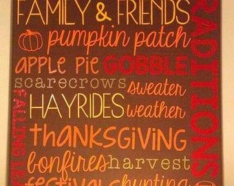 Fall 16x20 Canvas Art Autumn Seasonal Decor Vinyl