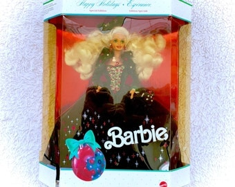 1991 Barbie Special Edition Happy Holidays Green Velvet Dress NEW IN BOX Blonde Collector Christmas Velour 90s Original Retro Xmas Sealed