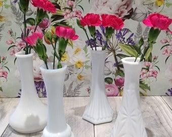 Vintage Set Of Four Assorted Milk Glass Bud Vases