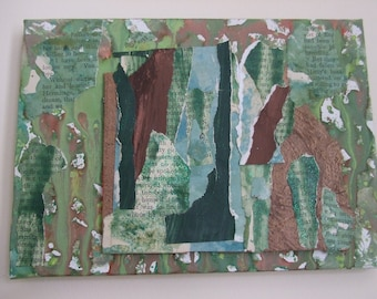 Original mixed media collage: In The Greenwood