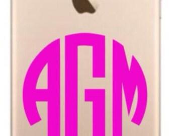 iPhone Monogram Decals / iPhone 7 Monogram Decals / iPhone 6 Monogram Stickers / iPhone 6 Plus decals