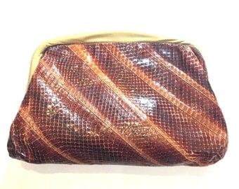 Snakeskin hideaway strap/clutch purse- vintage snakeskin trending snap clutch