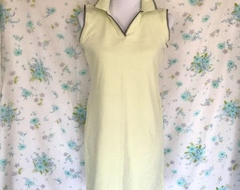 90s Tennis Dress Key Lime Pie Sleeveless Sporty Polo Dress Medium 8