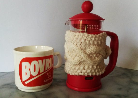 Mini Cafetiere Cosy: Aran knit coffee pot cosy. Made in Ireland. French Press cozy 3 cup coffee jug warmer. Gift for new home or coffee fan