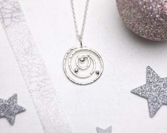 Swirl Necklace, Spiral Necklace, Galaxy Necklace, Handmade Silver Necklace, Geometric Necklace, Statement Necklace