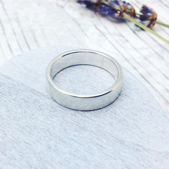 plain silver ring simple silver band wedding ring mens