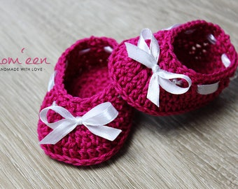 Baby shoes / baby moccasins Bella Berry in cyclam 0-3 months