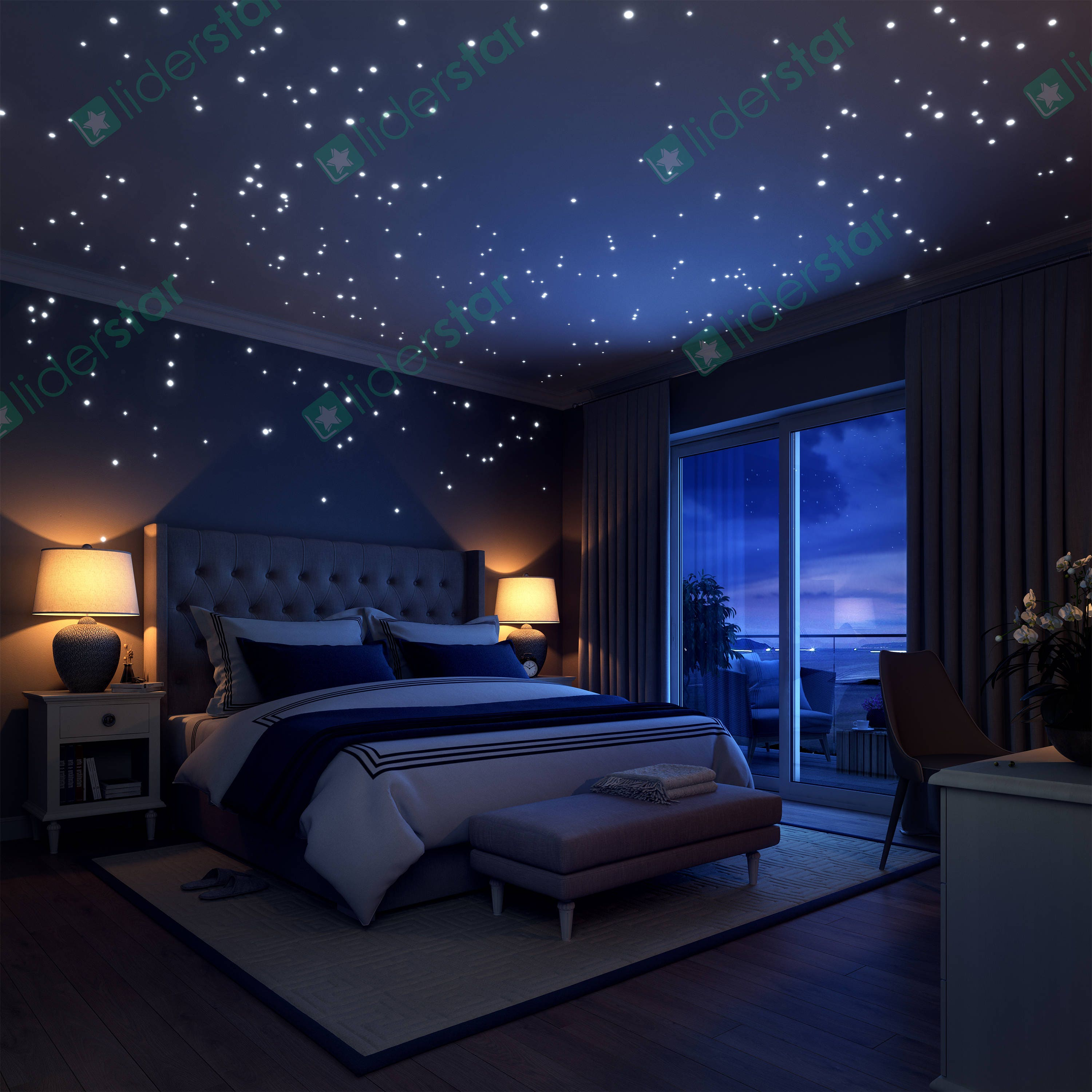 Bedroom ceiling lights stars - Glow In The Dark Stars 252 Romantic Realistic Dots And Moon Wall Decals Stars For Ceiling For Any Bedroom