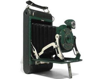 Vintage Green No.1 Pocket Kodak Junior Camera | Kodak Green Folding Camera with Black Bellows | Old Eastman Kodak Co Camera | Decor Camera