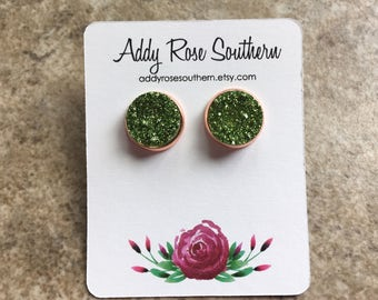 12mm Green druzy earrings , druzy studs, druzy earrings, druzy jewelry, rose gold druzy, rose gold earrings