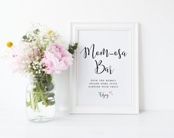 Printable MOM-osa Bar Sign, Mimosa Bar Sign, Mimosa Sign