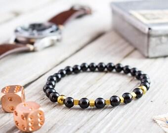6mm - Black onyx beaded stretchy bracelet with gold plated hematite beads, custom made gemstone bracelet, mens bracelet, womens bracelet