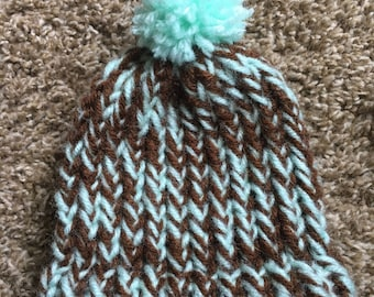 Green and brown newborn hat