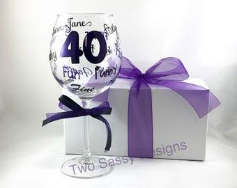 40th Wine Glass, Milestone Birthday Wine Glass, Custom Birthday Glass, Custom Vinyl Birthday Glass, 40th Birthday Glass, 40th Birthday Wine
