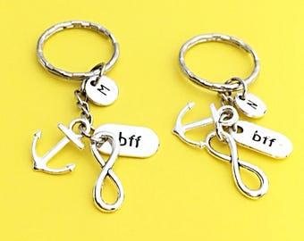 Customized Bff Keychain, Gift For BFF, Friendship Jewelry, Bff Infinity,  BFF keychain, Initial, custom, monogram, BFF Anchor, Friendship
