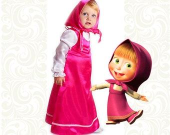 Dress for girl Masha & Bear, summer dress, baby girl dress, girls summer dress, princess dress, toddler dress, kids dress, baby girl clothes