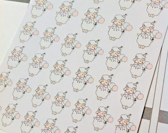Birthday and Celebration Sheep Emoji/Character Planner Stickers - SHEEPIE