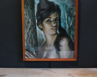 Retro Mid Century Framed and Glazed Print of Tina by J.H. Lynch