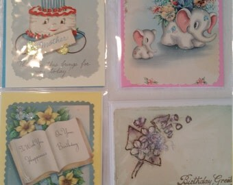 Set of 4 Vintage Handmade Birthday Cards