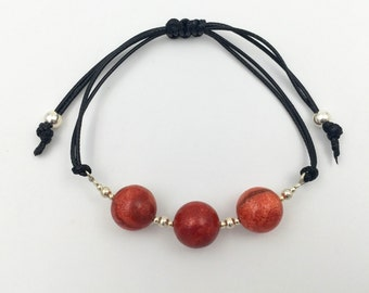 Bracelet in silver and apple coral