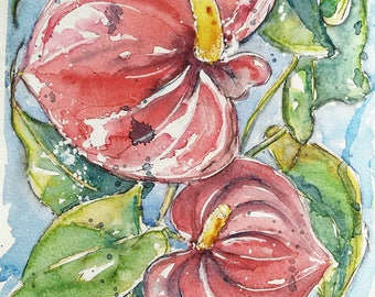 Flower art original painting watercolour red flowers painting, a one off watercolour painting of my red Anthurium flower