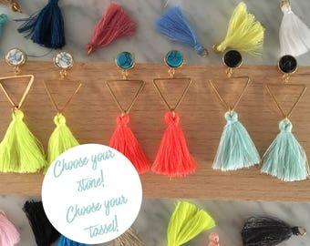 Choose your tassel earrings, white marble earrings, colorful tassel earrings, custom tassel earrings, tassel jewelry, white marble jewelry
