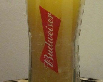 The Budweiser beer glass with hand poured candle