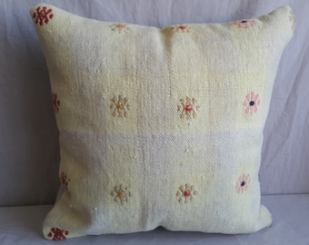 """18""""×18""""inches, Kilim Pillow, Cushion Cover, Decorative Pillow, Home Decor, Tribal Pillow, Turkish Kilim Pillow, Pillow Cover, Pastel Pillow"""