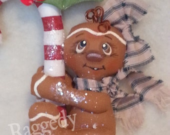 Handmade Primitive Gingerbread Girl - Candy Cane - Christmas Ornament - Mica Flakes - Homespun #5