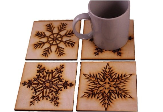 Christmas Drink Coaster Set Pack Of 4 Snow Flake Designs