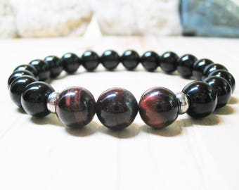 Mens Bracelet Red Tiger Eye Bracelet Black Onyx Bracelet Energy Bracelet Gemstone Bracelet Mala Bracelet Tiger Eye Bracelet 10mm Mens Beaded