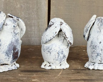Set of 3 Birds, Hear No Evil, See No Evil, Speak No Evil, Cast Iron Shabby Chic Cottage Decor