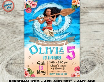 "Moana invitation, Moana birthday invitation, Moana party invitation, Moana personalized digital invitation! 4x6 or 5x7"" size. Any age."
