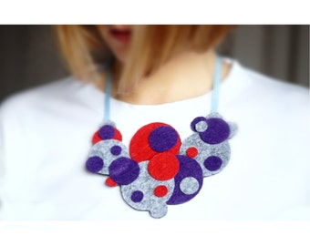 Felt necklace Felt bib necklace textile necklace collar necklace Statement, Fashion, Original, Unique, Jewelry, Art jewelry felt jewelry