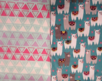 Fleece Tie Blanket-Llamas and Pink/Purple/White Triangles, small