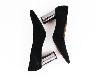 Vintage Stuart Weitzman Black Avant Garde Pumps w/ Metallic Mirror Heels size 8.5 AA