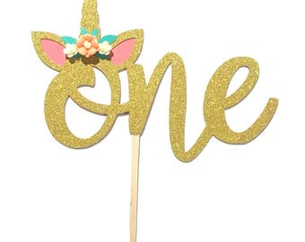 1 pc Flowers Unicorn Horn Ear ONE Gold Glitter Cake Topper for Birthday Baby Boy Girl Whimsical Theme