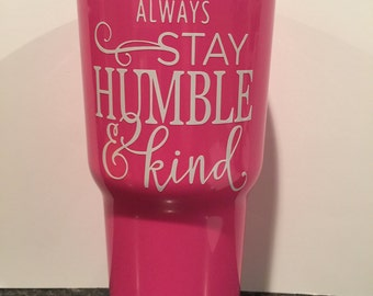 Pink 30 oz RTIC tumbler with lid and decal