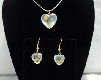 Frosted Glass Heart Pendant with Delicate Flower, Necklace and Earrings Set